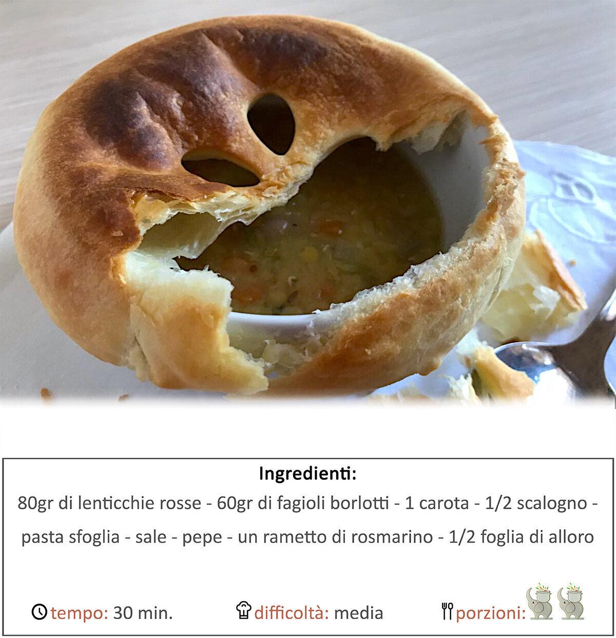 Zuppa di lenticchie e fagioli in crosta