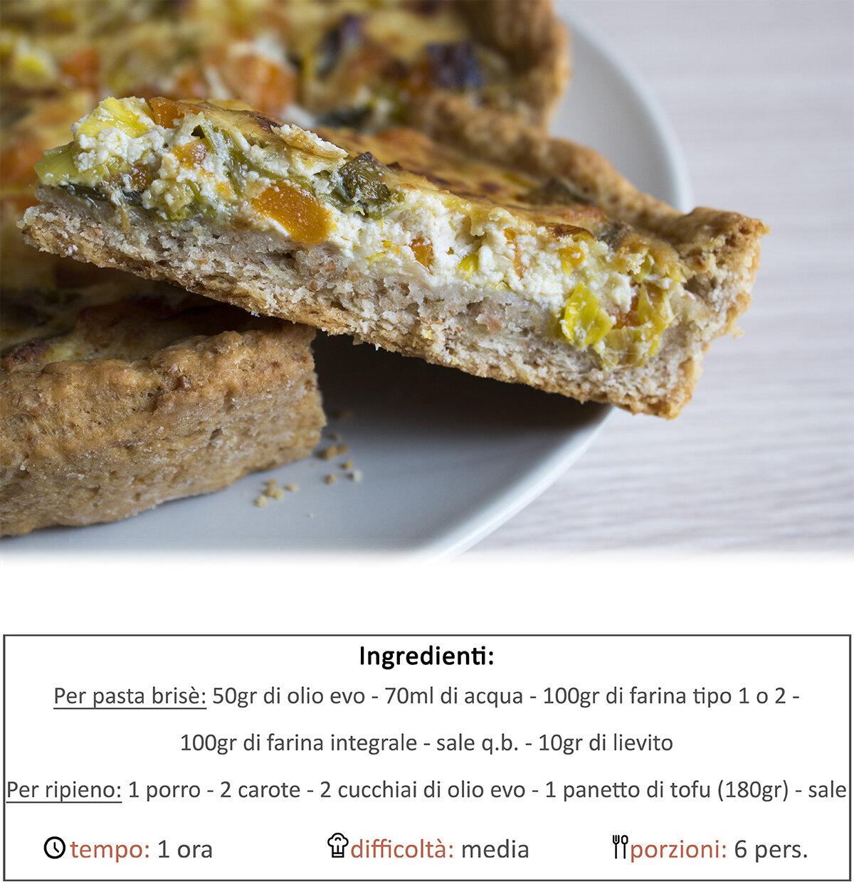 quichè tofu, porri e carote