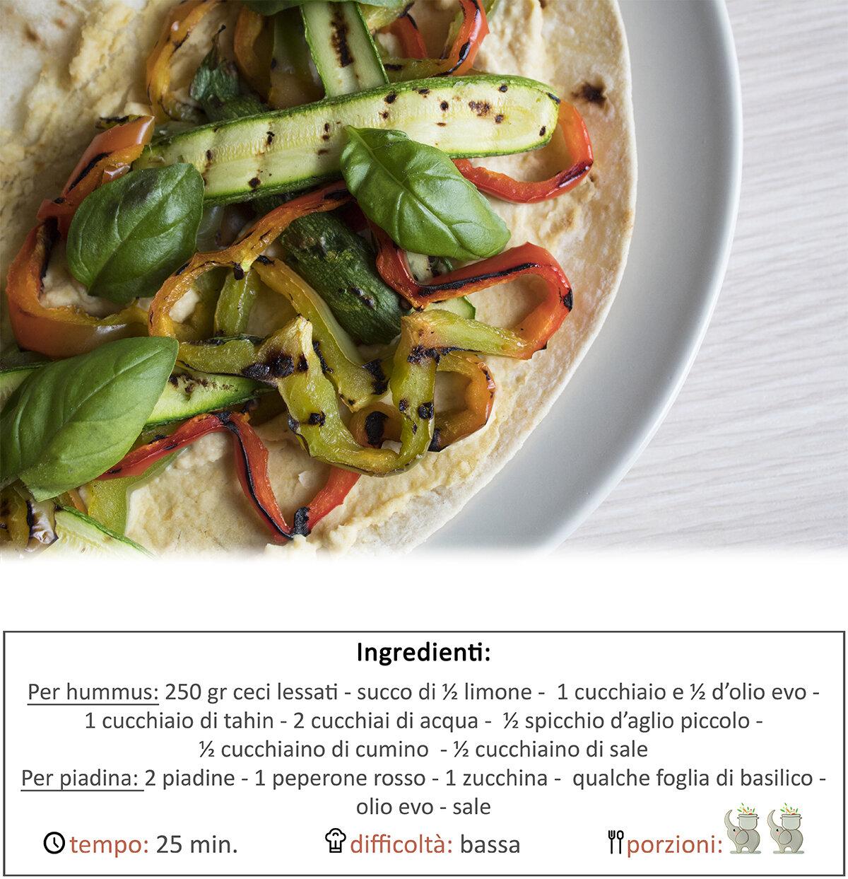 Piadina hummus e verdure grigliate
