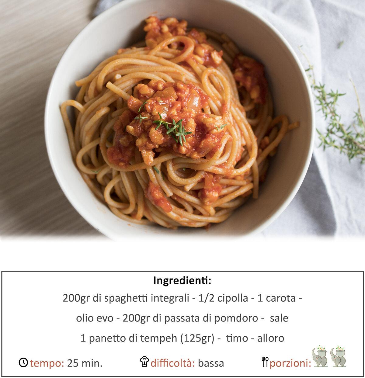 Spaghetti con ragù di tempeh