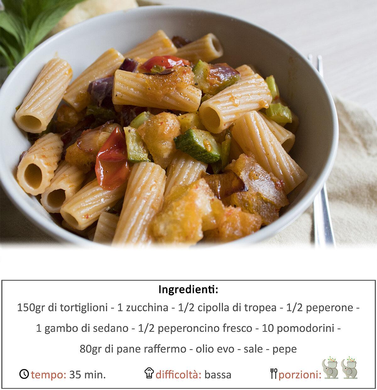 Tortiglioni e pan verdure