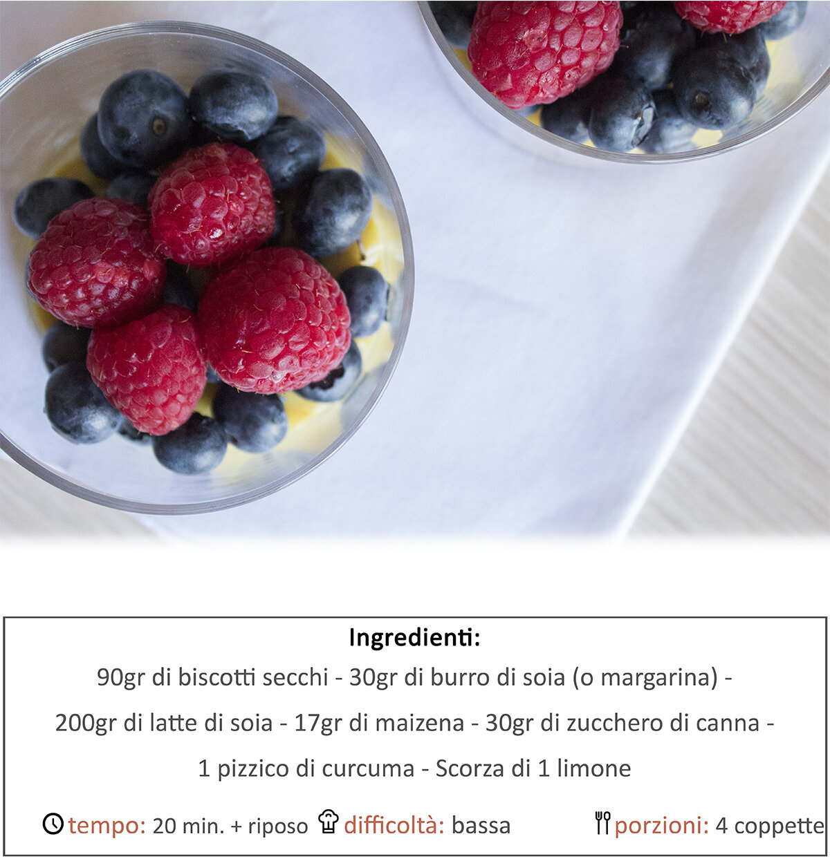 Coppette alla crema di limone e frutti di bosco