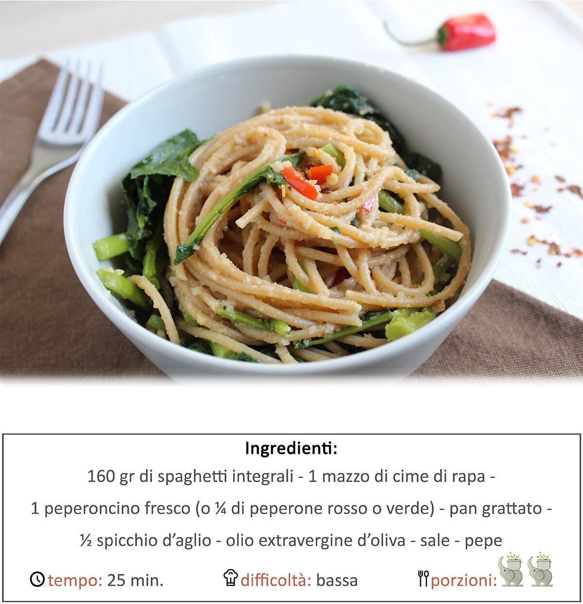 Spaghetti integrali cime di rapa e peperoncino