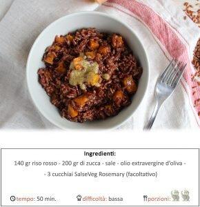riso rosso con zucca e salsa rosemary.