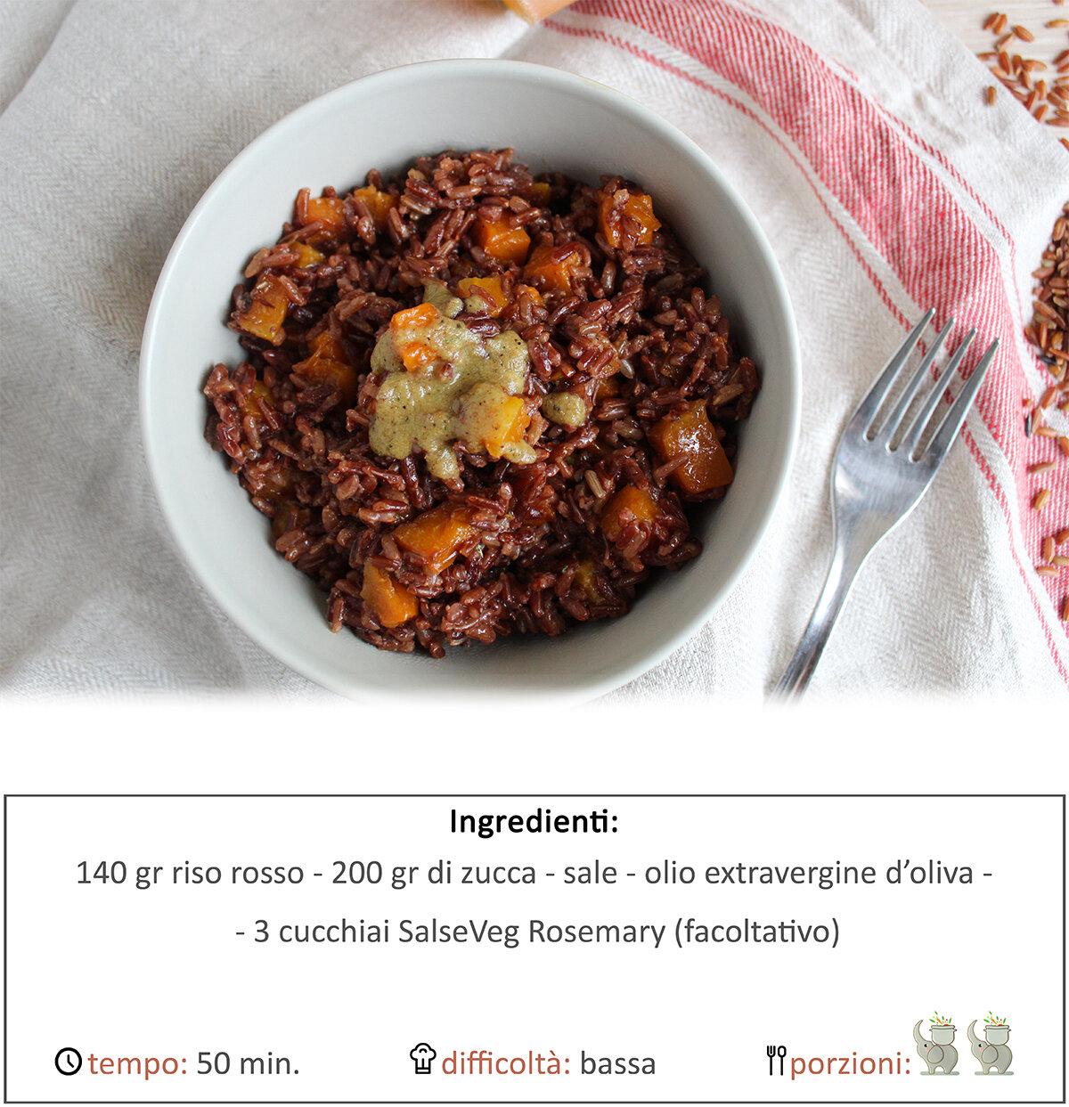 Riso rosso con quadrotti di zucca e salsa rosemary