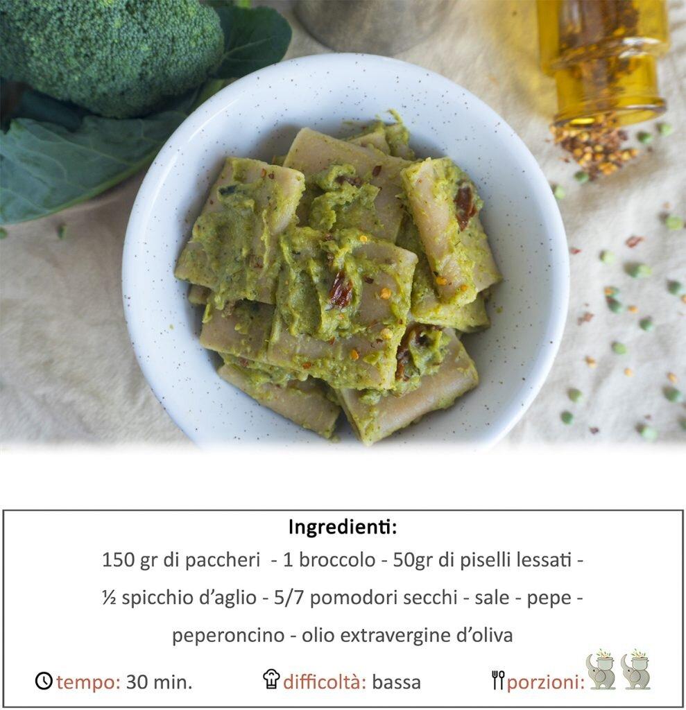 Paccheri alla crema di broccoli, piselli e pomodori secchi
