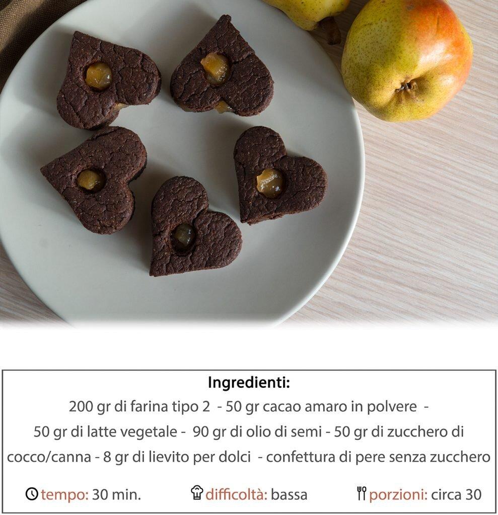 Cuoricini di cioccolato e marmellata di pere