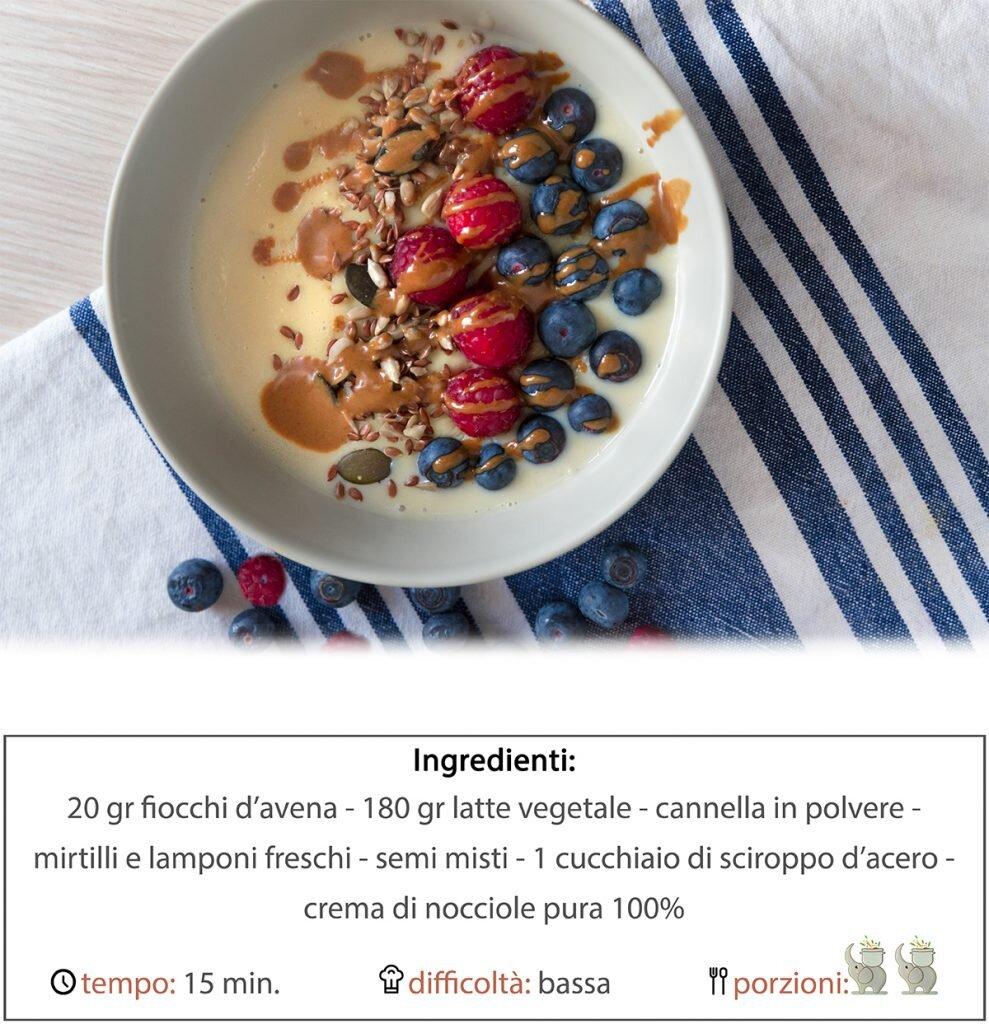 porridge mirtilli e lamponi