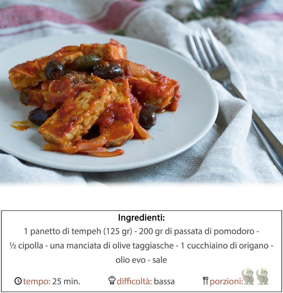 Tempeh al sugo con cipolle e olive