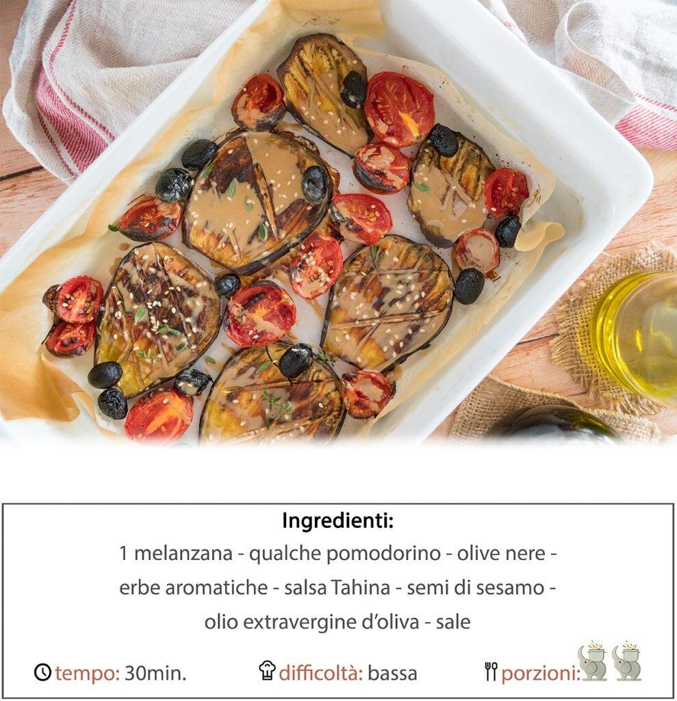 Melanzane al forno con salsa tahina